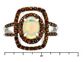 Pre-Owned Multicolor Ethiopian Opal Sterling Silver Ring 1.10ctw