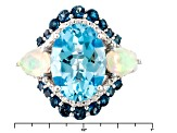 Pre-Owned Sky Blue Topaz Sterling Silver Ring 8.02ctw