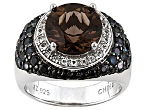 Pre-Owned Brown Brazilian Smoky Quartz Sterling Silver Ring 4.86ctw.