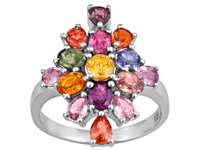 Pre-Owned Orange,Yellow,Pink,Blue,Green, Color Change Sapphire, 2.99ctw Sterling Silver Ring