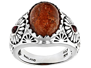 Pre-Owned Orange Sunstone Sterling Silver Ring .17ctw