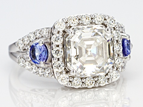 Pre-Owned Moissanite and Tanzanite Platineve Ring 5.00ctw DEW.