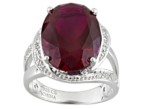 Pre-Owned Red Lab Created Ruby Sterling Silver Ring 11.80ctw
