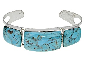 Pre-Owned Turquoise Kingman Silver Cuff Bracelet