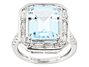 Pre-Owned Sky Blue Topaz Sterling Silver Ring 8.50ctw