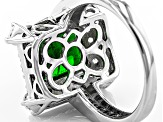 Pre-Owned Green Russian Chrome Diopside Sterling Silver Ring 4.97ctw