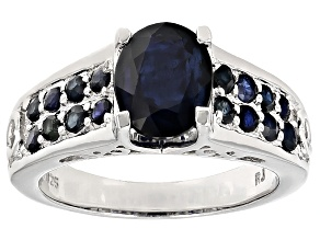 Pre-Owned Blue Sapphire Sterling Silver Ring 2.64ctw