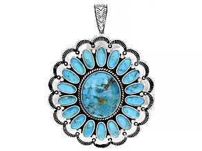 Pre-Owned Blue Kingman Turquoise Sterling Silver Enhancer