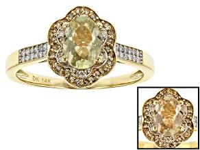 Pre-Owned Green Turkish Diaspore 14k Yellow Gold Ring .92ctw