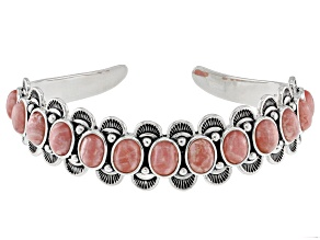 Pre-Owned Pink Rhodochrosite Sterling Silver Cuff Bracelet