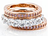 Pre-Owned Pink And White Cubic Zirconia Platineve And 18k Rg Over Silver Rings 5.14ctw