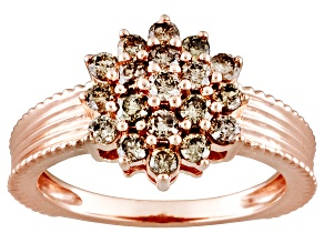 Pre-Owned Champagne Diamond .75ctw Round Engild™ 14k Rose Gold Over Sterling Silver Ring