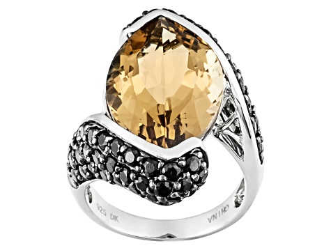 Pre-Owned Brown Champagne Quartz Sterling Silver Ring 12.32ctw