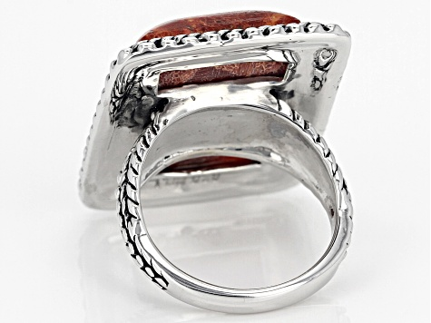 Pre-Owned Rectangle Red Sponge Coral Rhodium Over Sterling Silver Ring