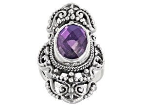 Pre-Owned Rainbow Purple Quartz Triplet Silver Ring