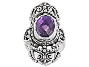 Pre-Owned Rainbow Purple Quartz Triplet Silver Ring