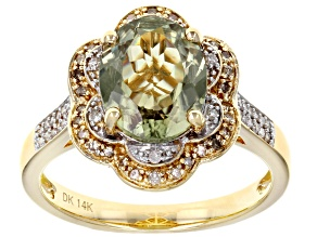 Pre-Owned Green Turkish Diaspore 14k Yellow Gold Ring 2.42ctw