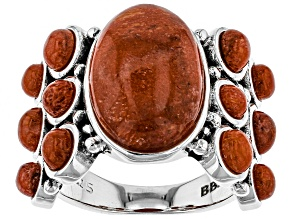 Pre-Owned Red Indonesian sponge coral sterling silver ring