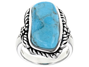 Pre-Owned Custom Shape Turquoise Sterling Silver Solitaire Ring