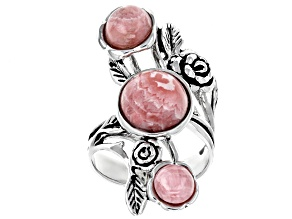 Pre-Owned Pink rhodochrosite rhodium over sterling silver floral ring