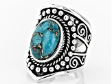 Pre-Owned Oval Cabochon Turquoise Sterling Silver Ring