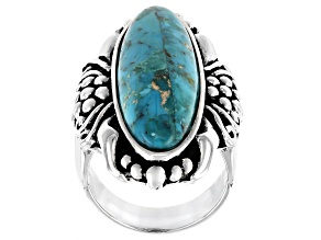 Pre-Owned Turquoise Sterling Silver Floral Ring