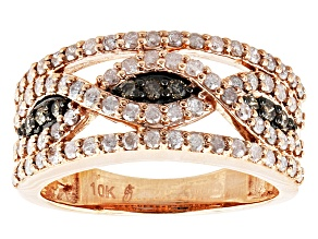 Pre-Owned Champagne And White Diamond 10k Rose Gold Ring .90ctw