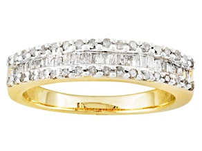 Pre-Owned Womens Classic Band Ring White Diamond .50ctw 14k Yellow Gold Over Sterling Silver