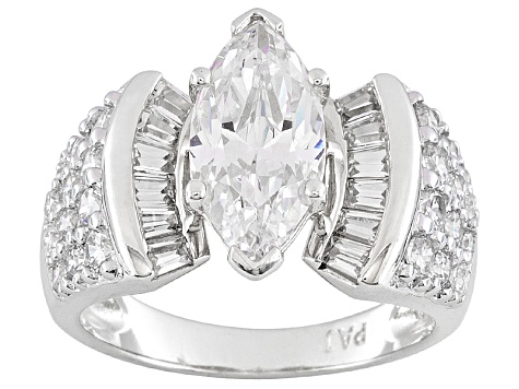 Pre-Owned 5.7ctw Cubic Zirconia Silver Bridal Ring