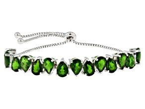 Pre-Owned Green Chrome Diopside Sterling Silver Sliding Adjustable Bracelet 8.57ctw