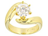Pre-Owned Moissanite 14k Yellow Gold Over Silver Ring 1.90ct DEW