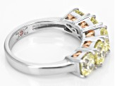Pre-Owned Yellow Cubic Zirconia Rhodium & 18k Rose Gold Over Sterling Silver Ring 5.53ctw