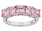 Pre-Owned Pink Cubic Zirconia Rhodium & 18k Rose Gold Over Sterling Silver Ring 5.53ctw