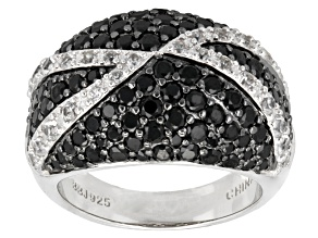 Pre-Owned Black Spinel Sterling Silver Ring 3.47ctw