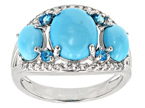 Pre-Owned Blue Turquoise Silver Ring .47ctw