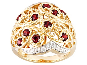 Pre-Owned Red And White Cubic Zirconia 18k Yellow Gold Over Silver Ring 1.40ctw
