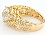 Pre-Owned White Cubic Zirconia 18k Yellow Gold Over Sterling Silver Louvre Ring 5.53ctw