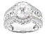 Pre-Owned White Cubic Zirconia Rhodium Over Sterling Silver Louvre Ring 5.53ctw