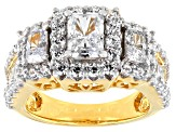 Pre-Owned Womens 3-Stone Ring Cubic Zirconia 5ctw Emerald Cut 18kt Gold Over Silver