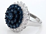 Pre-Owned Blue And White Diamond Sterling Silver Ring .40ctw