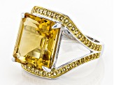 Pre-Owned Yellow Brazilian Citrine Sterling Silver Ring 8.60ctw