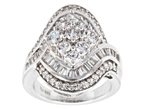 Pre-Owned Cubic Zirconia Rhodium Over Sterling Silver Ring 4.90ctw (3.37ctw DEW)