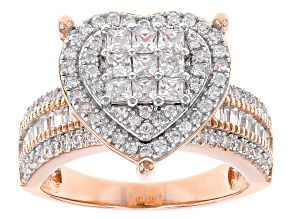 Pre-Owned White Cubic Zirconia 18k Rg Over Sterling Silver Ring 2.36ctw