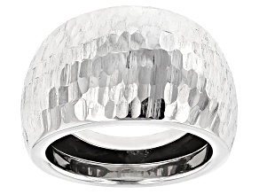 Pre-Owned 10k White Gold Diamond Cut Mirror Dome Ring