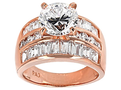 Pre-Owned White Cubic Zirconia 18k Rose Gold Over Sterling Silver Ring 9.21ctw