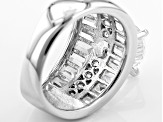 Pre-Owned White Cubic Zirconia Rhodium Over Sterling Silver Ring 9.21ctw
