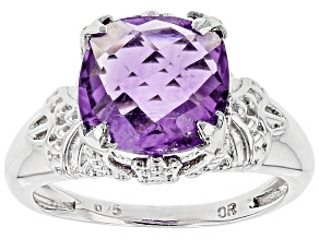Pre-Owned Purple Amethyst Sterling Silver Ring 3.80ct