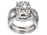 Pre-Owned White Cubic Zirconia Rhodium Over Sterling Silver Ring With Bands 3.38ctw