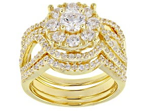 Pre-Owned White Cubic Zirconia 18k Yellow Gold Over Silver Ring With Bands 3.38ctw