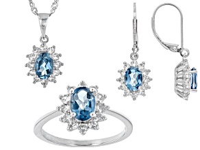 Pre-Owned London blue topaz rhodium over sterling silver jewelry set 5.03ctw